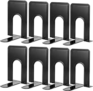 ZOENHOU 8 Pieces 8.3 x 5.2 x 6.5 Inch Heavy Duty Metal Bookends, Black Book Ends Book Support for Shelf, Perfect for Home ...