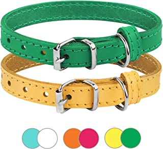 BRONZEDOG Leather Cat Collar Pack of 2 PCS, Pet Collars for Kitten Puppy Small Dogs Cats Yellow Green Pink Orange White Tu...