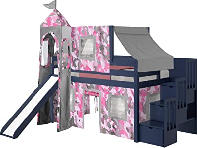 JACKPOT! Princess Low Loft Stairway Bed with Slide Pink Camo Tent and Tower, Loft Bed, Twin, Blue