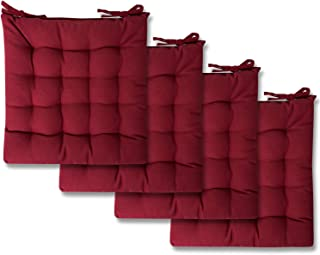 Sweet Home Collection Chair Cushion Seat Pads Indoor/Outdoor Printed Tufted Design Soft and Comfortable Covers for Dining Rooms Patio with Ties for Non Slip, 4 Pack, Burgundy Red
