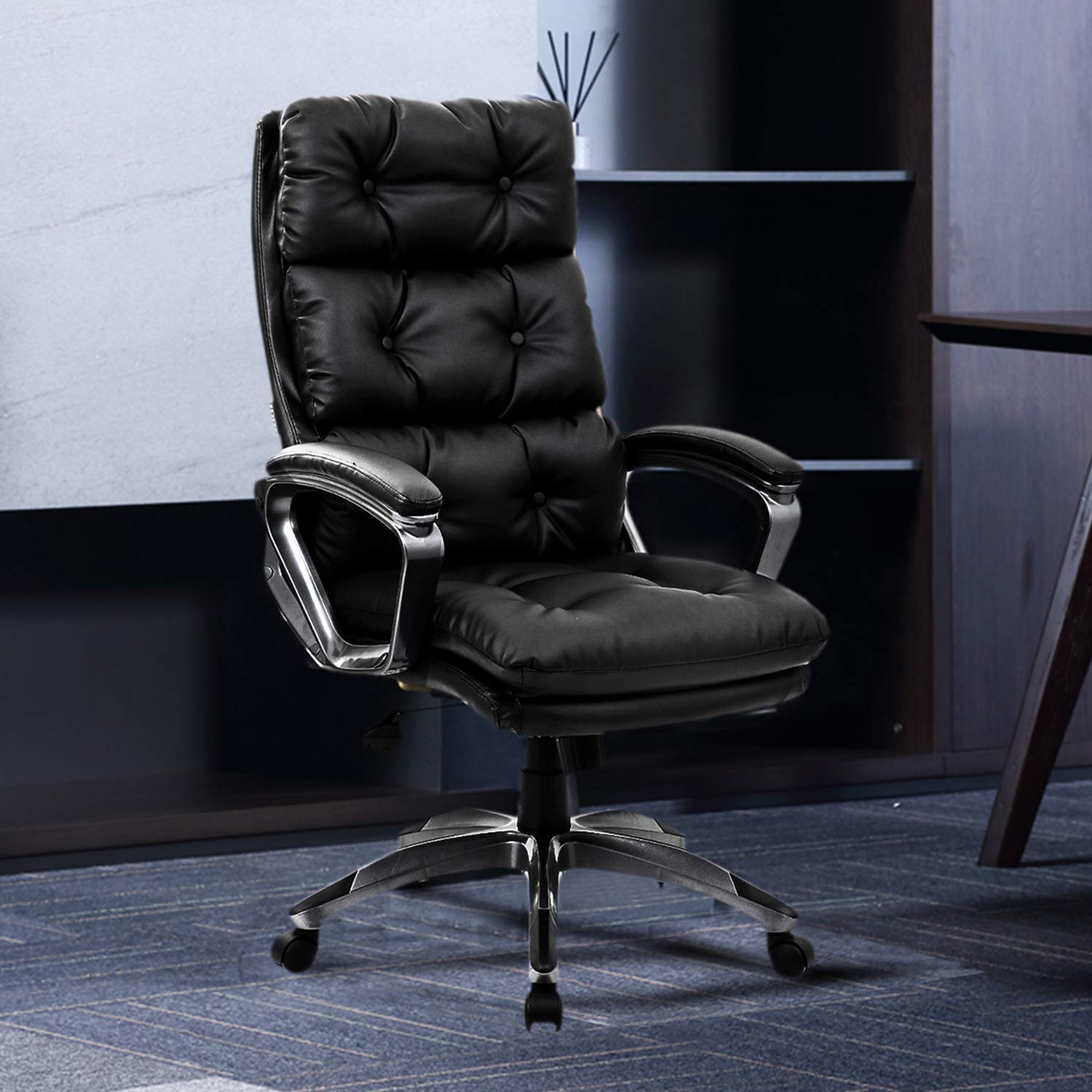 High Back Executive Office Chair Comfortable Leather Ergonomic Computer Task Chair For Lumbar Support Big And Tall Desk Chair With Curved Armrests Height Adjustable Tilt Black 400 Lbs Buy Online In China At China Desertcart Com