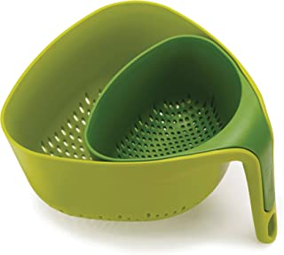 Joseph Joseph 10535 Nest Colanders Stackable Set with Easy-Pour Corners and Vertical Handle, 2-piece, Green