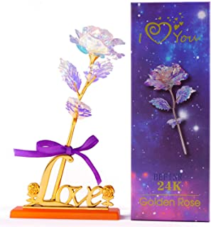 BEFINR Colorful Artificial Flower Galaxy Plastic Rose with Love-Shaped Stand Unique Presents Valentine's Day Thanksgiving Mother's Day Girl's Birthday, Best Gifts for Her for Girlfriend Wife Women
