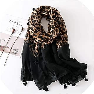 2019 Autumn Winter Leopard Dot Tassel Scarf Women Luxury Muslim Hijab
