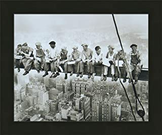 Home Cabin Décor Lunch On A Skyscraper, 1932 by Charles C Ebbets 20x24 Rockefeller Center NY Construction Iron Workers Eating On Steel Beam Framed Photo Print Picture