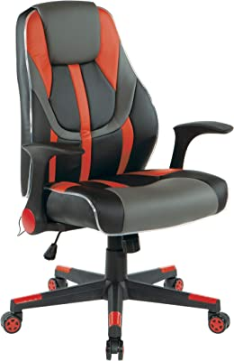 OSP Home Furnishings Output Mid-Back LED Lit Gaming Chair, Black Faux Leather with Red Trim and Accents