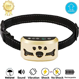 TOTIE Dog Bark Collar -7 Adjustable Sensitivity and Intensity Levels-Dual Anti-Barking Modes Rechargeable/Rainproof/Reflective -No Barking Control Dog Shock Collar for Small Medium Large Dogs