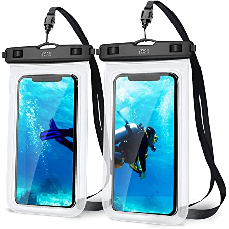 """YOSH IPX8 Waterproof Phone Case, Underwater Phone Pouch Dry Bag for Swimming Raining Dustproof for iPhone 12 11 pro max XS XR X 8 7, Samsung S20 S10 S9, Huawei P30 P20 & More -up to 7.0"""" 2-Pack"""