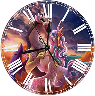 HOHOHAHE My Little Pony Kiss Wall Clock Round Style,Silent Non-Ticking Wall Clock,Battery Operated Art Decorative for Kitchen,Living Room,Kids Room and Coffee Decor (10 Inch)