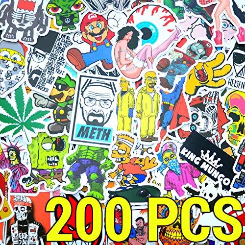 200pcs Adesivo Stickerbomb confezione da 200 pezzi - Alta qualità. Per laptop, notebook, auto, skateboard, bambini, valigia, bici, set di adesivi Vintage Decals Vinile Sticker - King Mungo KMST003