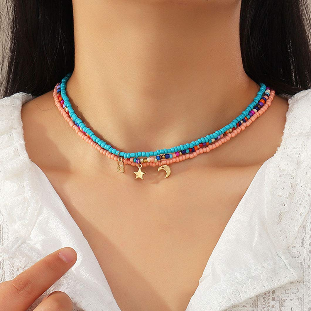 Sethexy Boho Layered Beaded Necklace Rainbow Bead Choker Beach Pendant Chain Hawaiian Costume Jewelry for Women and Girls (Multicolor B)
