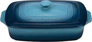 Le Creuset Stoneware Covered Rectangular Casserole, 12.5 by 8.5-Inch, Marine