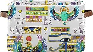 PUXUQU Panier de rangement pliable avec poignées et symboles égyptiens anciens, panier de rangement pour placard, étagère...