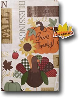 Bountiful Harvest Thanksgiving and Autumn Scarecrows Pumpkins and Turkey Vinyl Tablecloth with Autumn Refrigerator Magnet-...