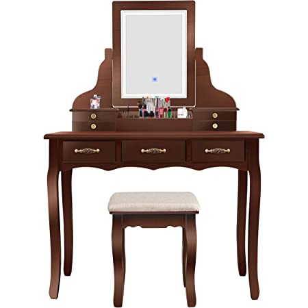 Amazon Com Led Vanity Beauty Station 7 Drawers Makeup Dressing Table With Cushioned Stool Set Dark Brown Kitchen Dining