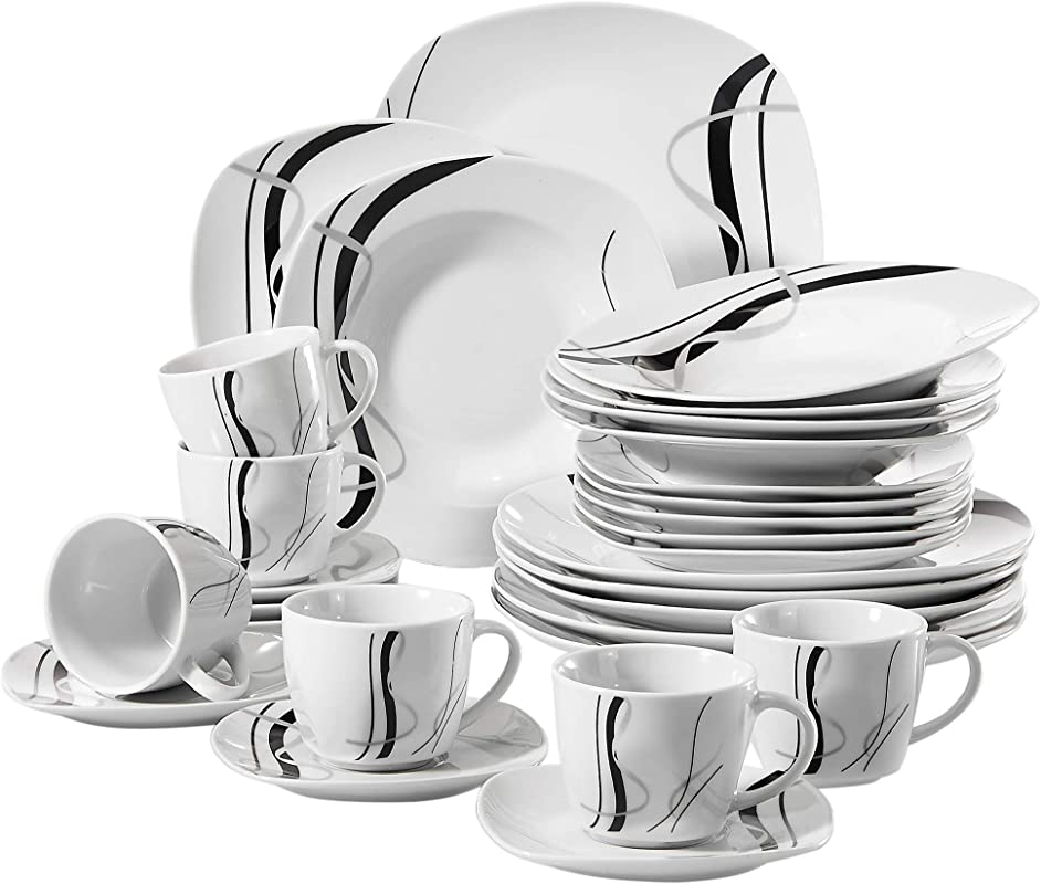 VEWEET 30 Piece Ceramic Tableware Sets Black Stripe Patterns Stoneware Plate And Bowl Set Service For 6 Fiona Series