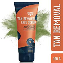 Beardhood Tan Removal Face Scrub with Moringa, Walnut Granules & Almond Oil, SLS & Paraben Free, 100g