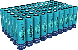 Tenergy AA Rechargeable Battery, High Capacity 2600mAh NiMH AA Battery, 1.2V Double A Batteries 60-Pack