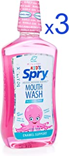 Spry Kid's Alcohol-Free Xylitol Mouthwash, Natural Bubble Gum - 16 fl oz (3 Pack)