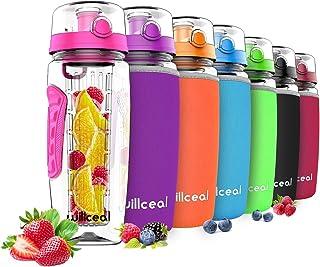 Borraccia Sportiva con indicatore del Tempo Motivazionale Favofit 1 Litro Bottiglia Acqua a Prova di perdite Filtro per infusore di Frutta e Spazzola per la Pulizia