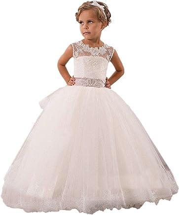 42888a2b5688 KekeHouse® Abito Damigella Bambina Pizzo Vestito Formale da Ragazza Vestito  per Matrimonio Vestito Ragazza Elegante