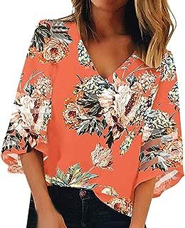 Floral Shirts for Women Short Sleeve,Women V Neck Print Mesh Panel 3/4 Bell Sleeve Loose Top Shirt