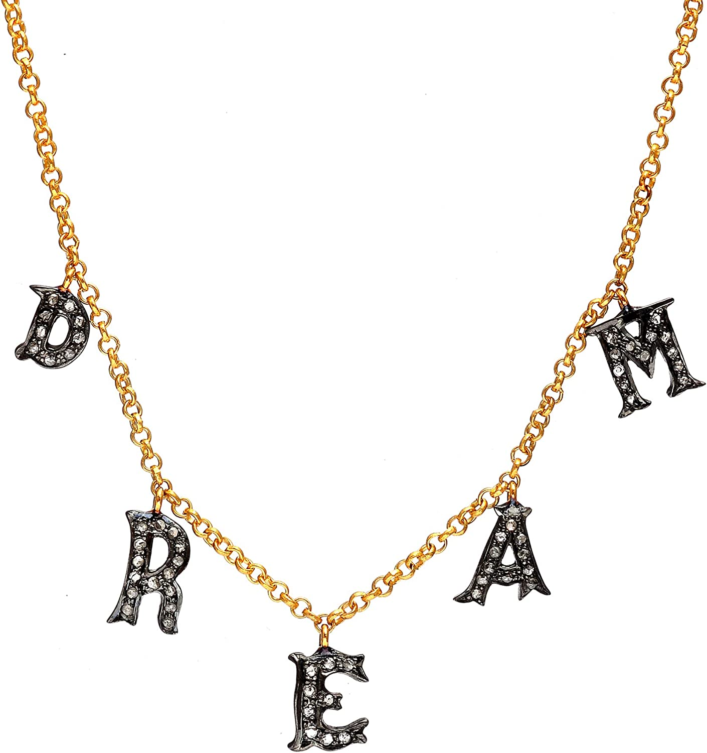 925 Sterling Silver Dream Initial Carat Necklace Diam 0.42 Same day Tulsa Mall shipping Brown