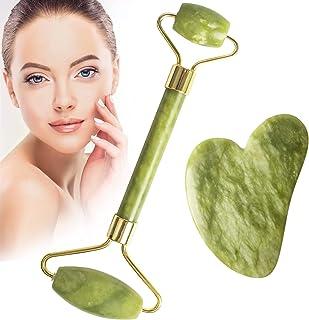 مجموعه ابزار Iorbur Jade Roller and Gua Sha ، ماساژور مراقبت از پوست ، Jade Face Roller ، 100٪ Natural Jade Facial Roller Roller Facial ابزار برای صورت ، چشم ، گردن