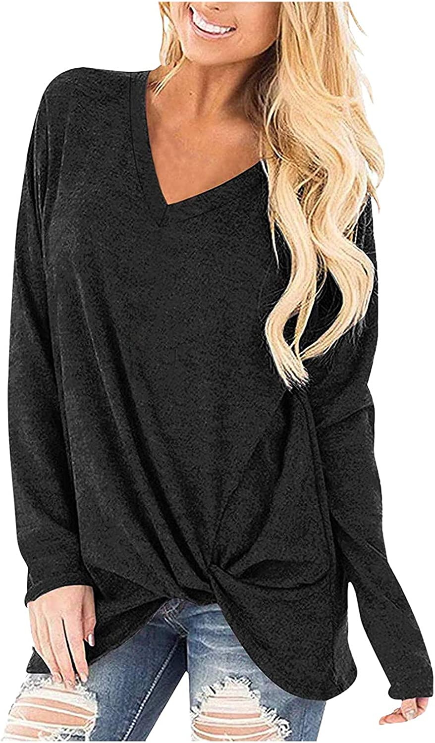 Womens Solid Color Stitching Knotted Not Off-Shoulder V Neck Long Sleeve Blouse for Spring Autumn Wear Gift for Women
