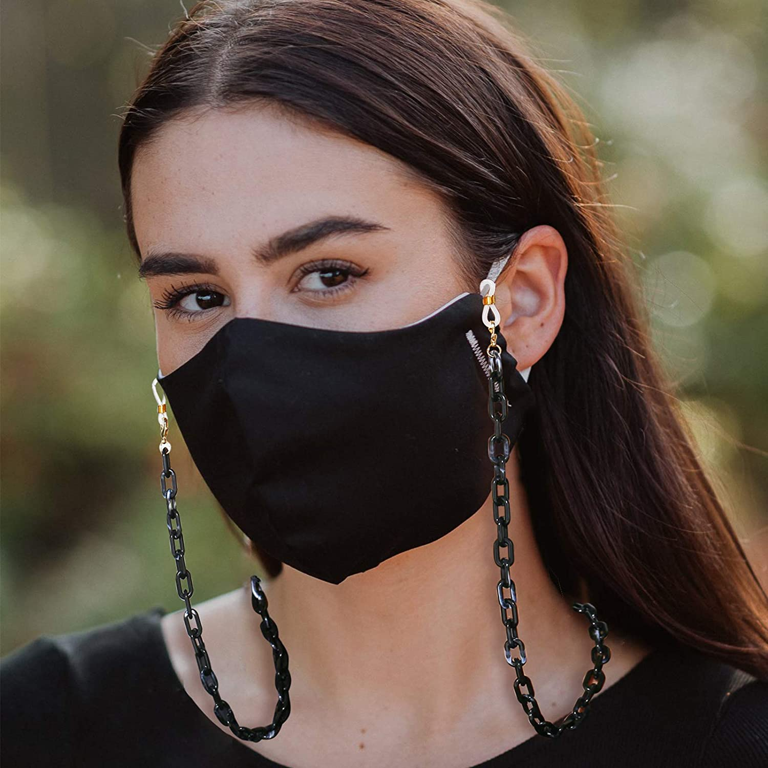 17KM 6 Pcs Mask and Glasses Chain Lanyards for Women Unique Anti-Lost Acetate Acrylic Face Mask Chain Holder with Clips Around Neck for Men Adults Girls Kids