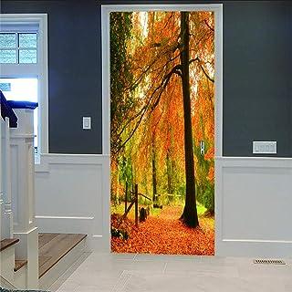 LOVEJJ Stickers de Porte 3D Feuilles d'automne Déco Murale Qualité HD PVC Douche Bureau Salon Décoration Couloir Peinture ...