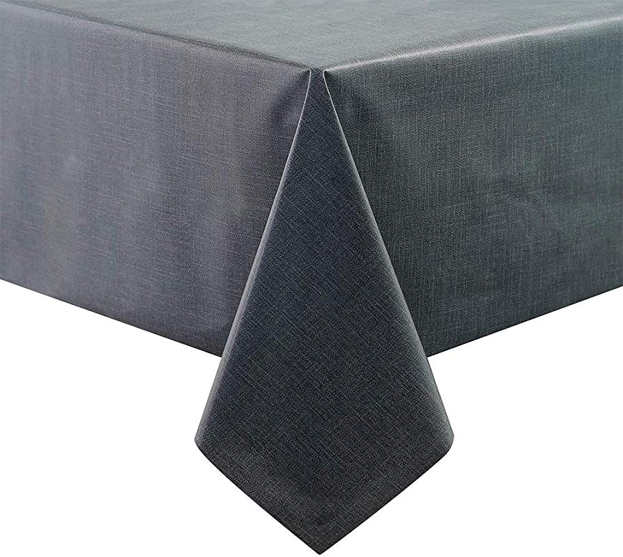 TIANXI Vinyl Tablecloth Plastic Tablecloths Square Heavy Duty Rectangle Table Covers Large Oilcloth PVC Fabric For Outdoor Kitchen Picnic Black 53 X 79