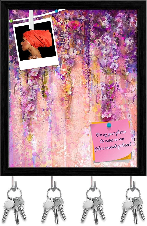 Artzfolio Pink & purple color Flowers Key Holder Hooks   Notice Pin Board   Black Frame 16 X 19.3Inch