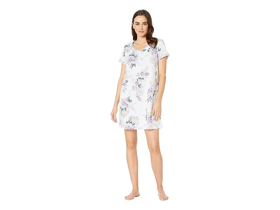 Karen Neuburger Seranade Short Sleeve Nightshirt (Floral/Ice Blue) Women