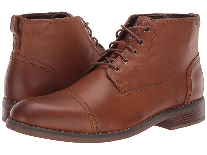 Victorian Men's Shoes & Boots- Lace Up, Spats, Chelsea, Riding Rockport Colden Cap Plain Toe Dark Tan Mens Shoes $94.34 AT vintagedancer.com