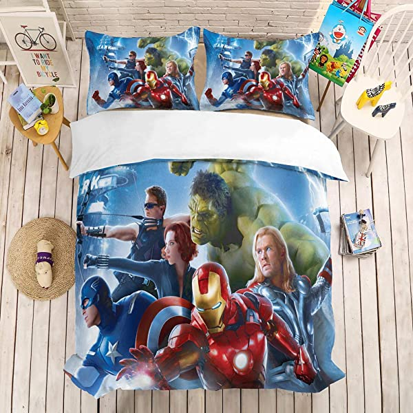 NOOS Marvel Avengers Bedding Set 3D Kids Duvet Cover Queen Size Superhero Bedding Comforter Cover Set Super Soft Microfiber Bed Set 3PC 1Duvet Cover 2Pillowcases