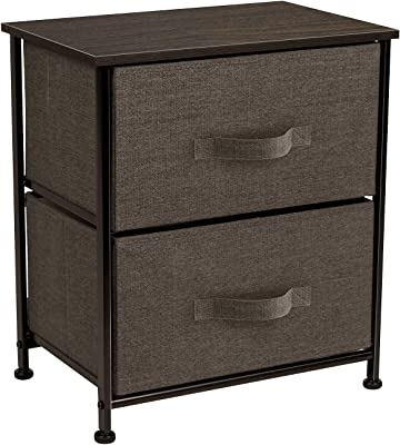 Sorbus Nightstand with 2 Drawers - Bedside Furniture & Night Stand End Table Dresser for Home, Bedroom Accessories, Office, College Dorm, Steel Frame, Wood Top, Easy Pull Fabric Bins (Brown)