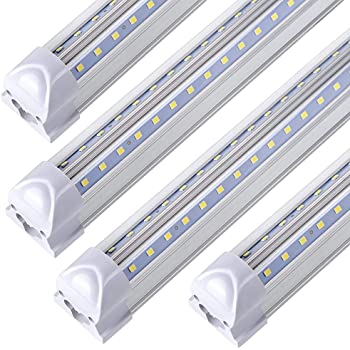 LED Shop Light Fixture 8FT ,T8 , 90W 11000LM 6000K, Cold White, V Shape, Clear Cover, Hight Output, Linkable Shop Lights, T8 LED Tube Lights, LED Shop Lights for Garage 8 Foot with Plug (Pack of 10)