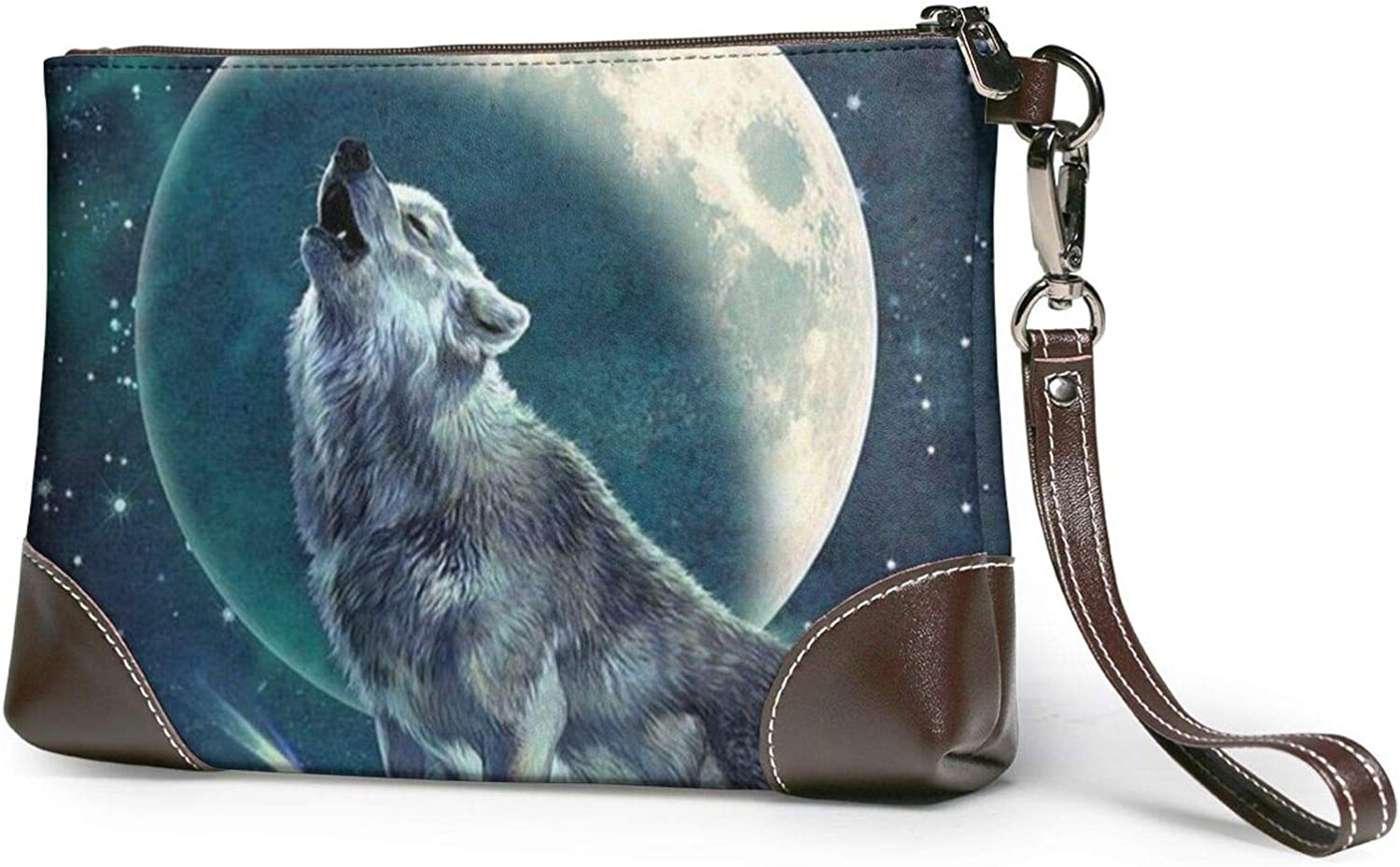 Wolf Max 79% OFF Howling Moon Clutch Purses P Wallet Wristlet free shipping Leather