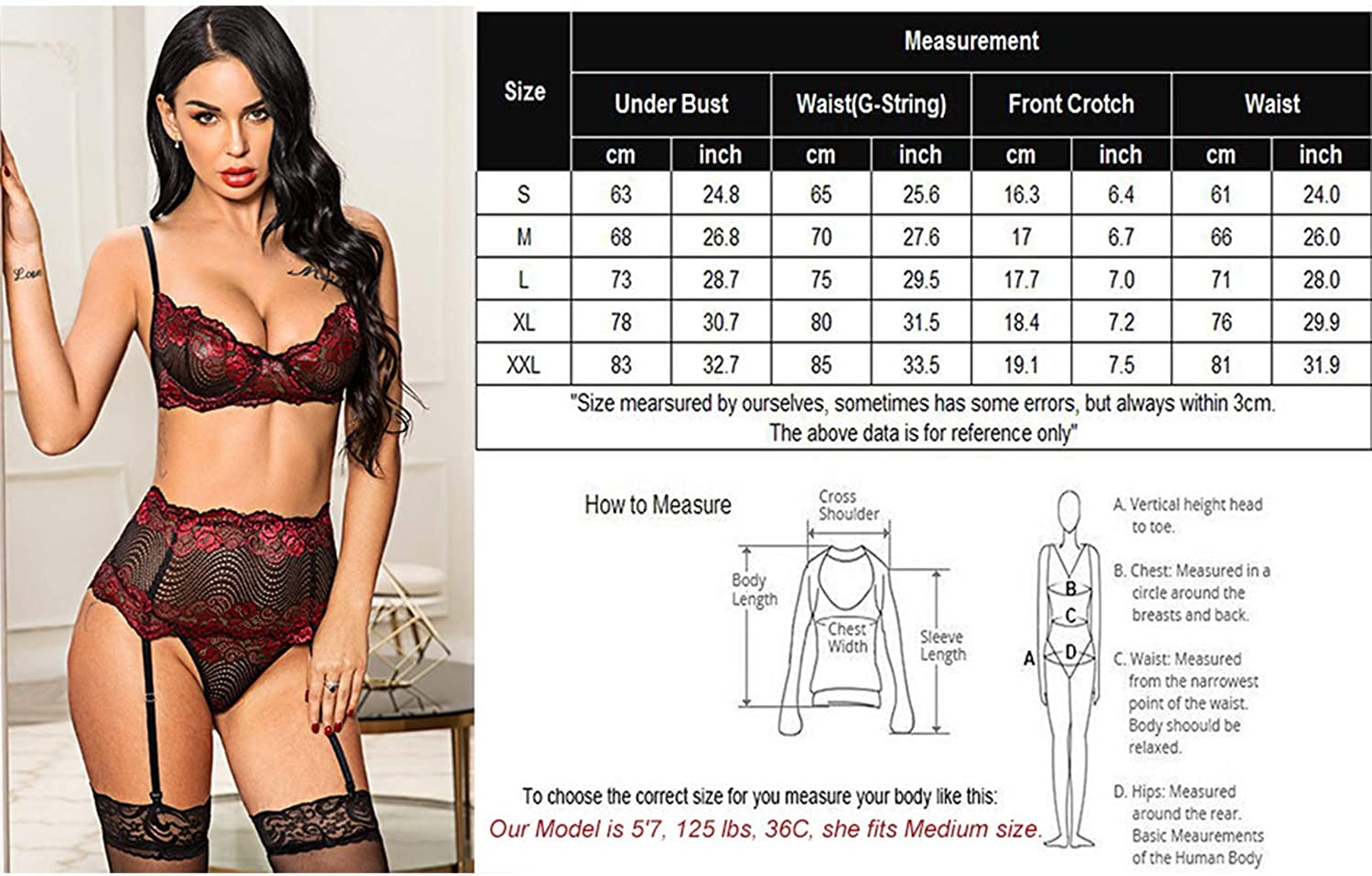 Avidlove Women Lingerie Set with Garter Belts Sexy Bra and Panty Underwire Lingerie Sets