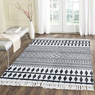 HEBE Large Cotton Rugs 4'x6' Machine Washable Printed Woven Tassel Area Rugs Black and White Floor Carpet Mat Bohemian Rug for Living Room Kitchen Laundry