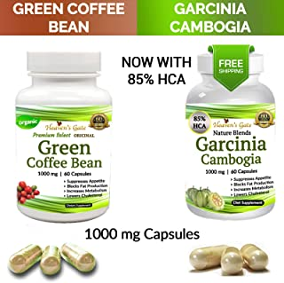 Garcinia Cambogia and Green Coffee Bean Combo - Weight Loss Supplement - Appetite Suppressant - 120 Capsules, 1000 mg - Organic - 85% HCA - GMO and Gluten Free - 100% Pure - Extra Fast Weight Loss