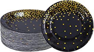 Aneco 60 Pieces 7 Inches Black Bronzing Disposable Paper Plates Dinnerware Plates Gold Foil Polka Dot Plates for Party Graduation Wedding Anniversary Birthday