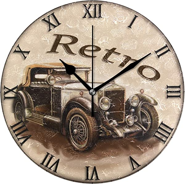 Jacksome Retro Car Home Wall Clock Battery Operated Silent And Non Ticking Vintage Wall Decor