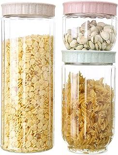 3PC Cuisine Grains Snacks Scellé Bocal Plastique Transparent Réservoir de stockage de ménages Restauration Conteneurs Cuis...