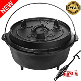 Overmont 9 Quart Camp Dutch Oven All-round Cast Iron Casserole Pot Dual Function Lid Griddle Pre Seasoned with Lid Lifter Handle for Camping Cooking BBQ Baking
