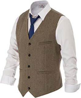 PAUL JONES Men's British Herringbone Tweed Vest Premium Wool Waistcoat