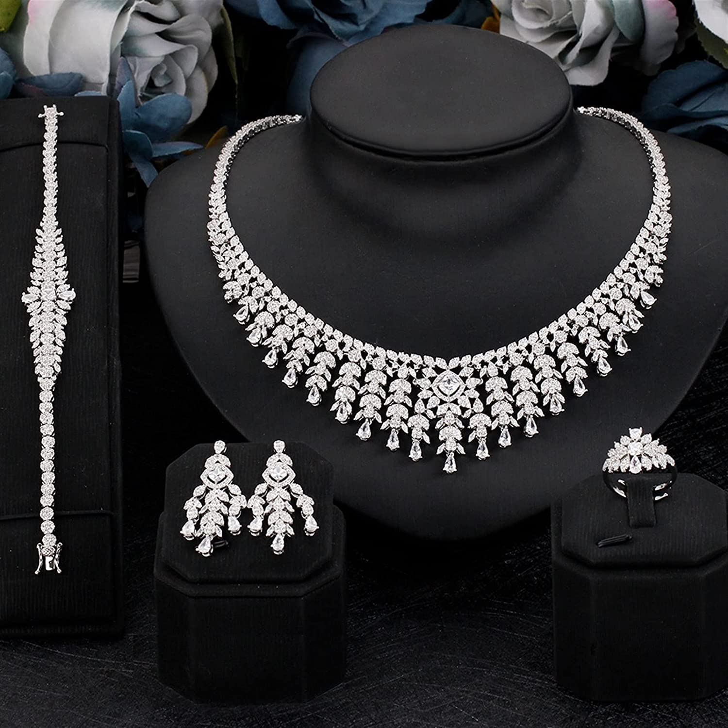 SYXMSM Jewellery Set Trendy Micro Pave Branded goods Bridal Zirconia CZ Cubic Over item handling ☆