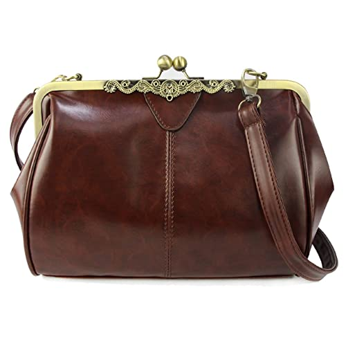 Micom New Small Retro Vintage Kiss Lock Imitation Leather Purse Handbag  Totes Bag for Women, 5a9f9eba00