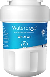 Waterdrop MWF Refrigerator Water Filter, Compatible with GE SmartWater MWF, MWFINT, MWFP, MWFA, GWF, HDX FMG-1, GSE25GSHECSS, WFC1201, RWF1060, 197D6321P006, Kenmore 9991, r-9991, NSF 42